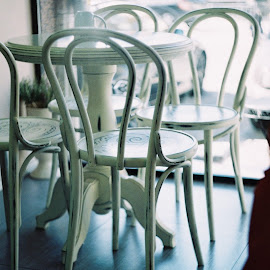 Chairs by Daniel Chobanov - Artistic Objects Furniture ( film, old, chairs, table, photography )