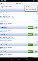 Screenshot of UNIT4 Agresso Timesheets