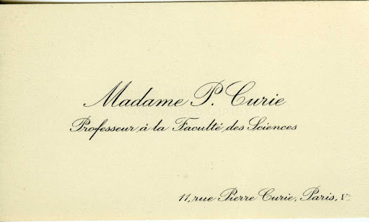 Business card of Marie Curie after obtaining her professorship at the Sorbonne in 1908