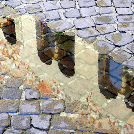 reflections&old pavement by Isabella Scotti - Abstract Patterns