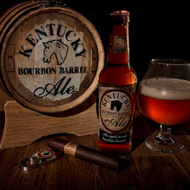 Relaxing Evening by Mark Davis - Food & Drink Alcohol & Drinks ( bourbon, cigar, beer, ale, barrel )