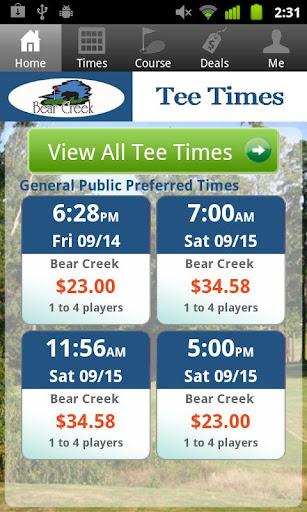 Bear Creek Golf Tee Times