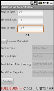 Aviation Fuel Burn Calculator - screenshot