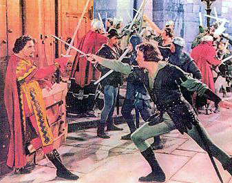 Errol Flynn as Robin Hood duels with Basil Rathbone as the Sheriff of Nottingham