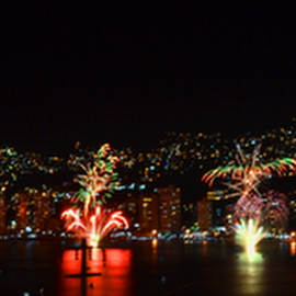 Line Of The Fireworks  by Kamila Romanowska - Abstract Fire & Fireworks ( acapulco, new year, mexico, fireworks, celebration )
