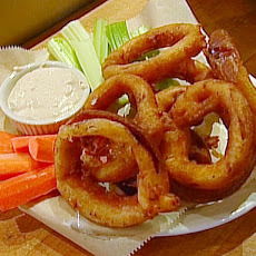 Spicy Buffalo Onion Rings and Blue Cheese Dip
