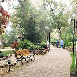 Park Path. by Marilyn Bass - City,  Street & Park  City Parks ( park pathways, park path, arkansas photographer, park, park pathway, park paths, street lamps, parks, street lamp, arkansas,  )