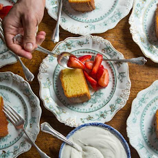Almond Cake with Macerated Strawberries and Cardamom Cream