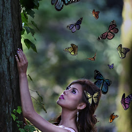 Fly away by Elo Durand - People Fashion ( magic, princess, butterflies, woods, fairytale, photography,  )