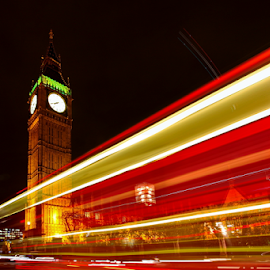 Big Ben At Night by Ahmad Azaharuddin Omar - City,  Street & Park  Street Scenes ( light trail, westminister, autumn, big ben )