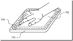 FIG. 5 is a three dimensional diagram illustrating use of a portion of a tactile array to indicate an end of a scrolling in a hand-held device according to an embodiment of the present invention.