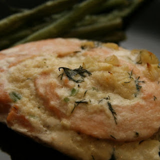 Crab-Stuffed Salmon Pinwheels With a Garlic Dill Cream Sauce