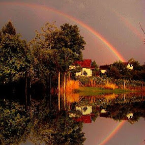 Rainbow over Village in Reflection by Nat Bolfan-Stosic - Landscapes Weather ( calm, reflection, village, rainbow, rain, fall, color, colorful, nature )