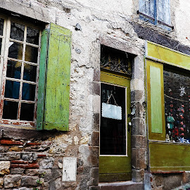Green by Alexandra Rafaila - Buildings & Architecture Other Exteriors ( shop, building, old, vintage, brick, green, street, door, france, architecture, historical,  )
