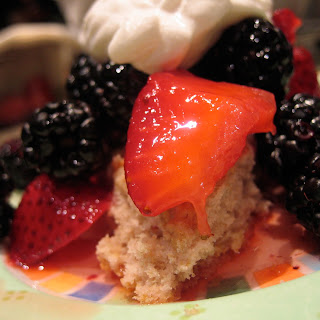 Blood Orange Scones Topped w/ Macerated Strawberries, Blackberries & Hardly Sweetened Cream