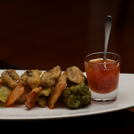 Tempura vegetable platter with glass of sauce by Nick Dale - Food & Drink Fruits & Vegetables ( mushroom, haute cuisine, platter, carrot, white, vegetables, plate, spoon, delicious, fried, teaspoon, restaurant, batter, sauce, dinner, meals, sweet and sour, glass, broccoli, lunch, green pepper, gourmet, china, tempura )