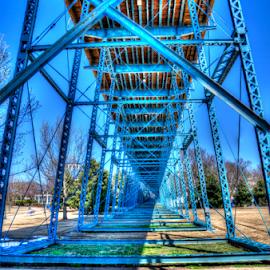 Walnut Street Bridge by Steve Rogers - Buildings & Architecture Bridges & Suspended Structures ( chattanooga, girders, blue, truss, walking bridge, bridge, avalon-art.com )