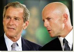 Bruce Willis and President Bush