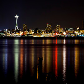 Seattle Reflections by Linda Cook - City,  Street & Park  Skylines ( space needle, skyline, seattle, reflections, nightscape )