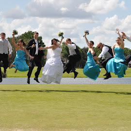 jump for joy! by Jessica Burris - Wedding Groups ( playful, jumping, joy, celebrate, wedding party, Wedding, Weddings, Marriage )