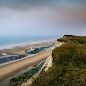 Cap Blanc Nez by Dominic Schroeyers - Landscapes Beaches ( clouds, cliff, sea, cap blanc nez, france, beach, rocks,  )