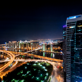 Overlooking by Keith Homan - City,  Street & Park  Skylines ( exposure, lights, blue, bridge, long,  )