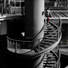 Melbourne steps by Roger Arnaud - City,  Street & Park  Street Scenes ( stairs, melbourne, woman )