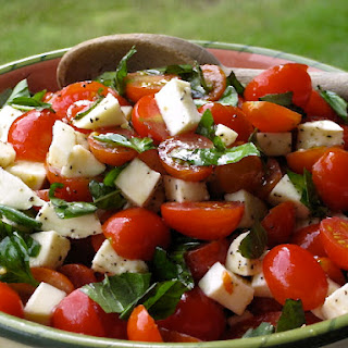 Roz's Caprese Salad with Grape Tomatoes, Mozzarella & Basil