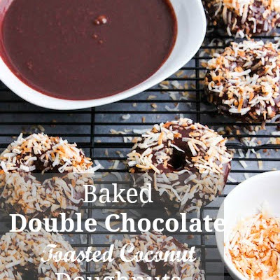 Baked Double Chocolate Toasted Coconut Doughnuts
