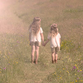 Sisters by Danielle Pedder - Novices Only Street & Candid ( girls, adventure, sisters, meadow, holding hands )