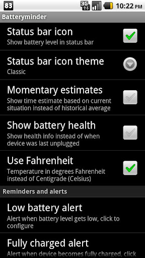 batteryminder for android screenshot