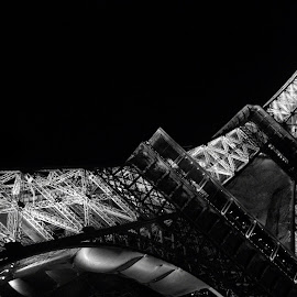 Eiffel Tower by Anton Donev - Buildings & Architecture Statues & Monuments ( famous, old, bolt, europe, eiffel, architecture, french, travel, iron, city, lights, paris, metal, france, monument, construction, abstract, structure, building, electric, tourism, steel, urban, landmark, tower, lightning, electrical, blue, outdoor, night, design )