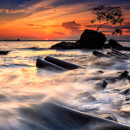 Sunset at Melawai Beach by Bambang Pawiroredjo - Landscapes Sunsets & Sunrises