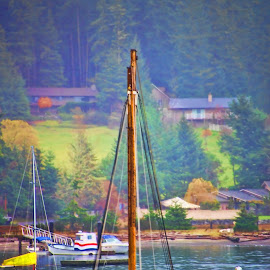 Sail Boat in Wait by Jerry Cahill - Transportation Boats ( sailing, boat, sail boat )