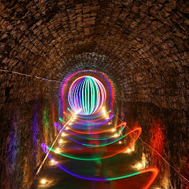 Victoria tunnels by John Tweedy - Abstract Light Painting ( light painting, orb, underground, light, tunnel )