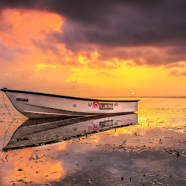 Sunrise Pantai Karang by Ivan Theo - Landscapes Sunsets & Sunrises ( water, sunrise, beach, boat, landscape )