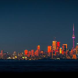 Sunsets on the city by Jack Brittain - City,  Street & Park  Skylines ( canada, toronto, sunset, cn tower, night, ontario, Urban, City, Lifestyle )