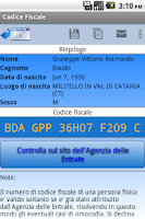 Screenshot of Codice Fiscale