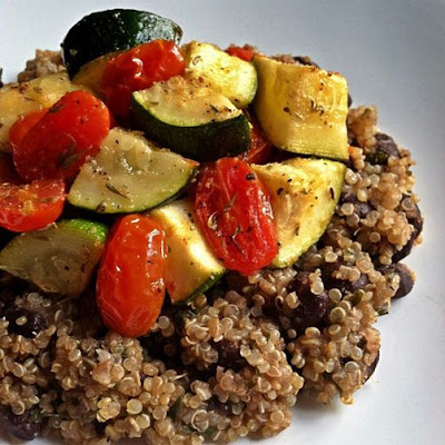 Black Bean Quinoa topped with Roasted Veggies