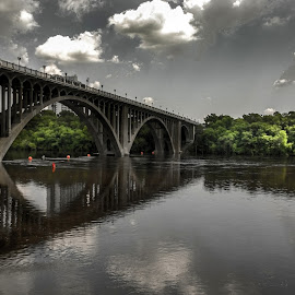 Bridge over Mississippi by Tommie Davis - Buildings & Architecture Bridges & Suspended Structures ( art, bridge, bridges, river, mississippi )