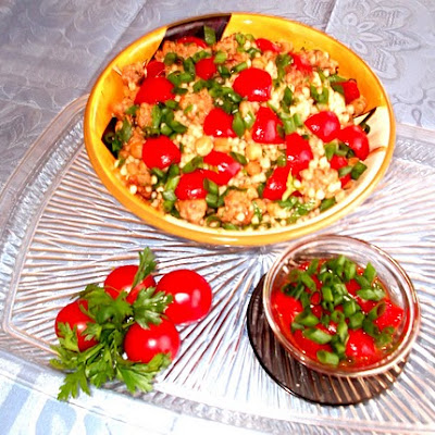 Warm Couscous, Sausage and Chickpea Salad with Cherry Tomato Vinaigrette