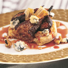 Warm Black Mission Fig, Walnut Crunch, and Blue Cheese Tartlets