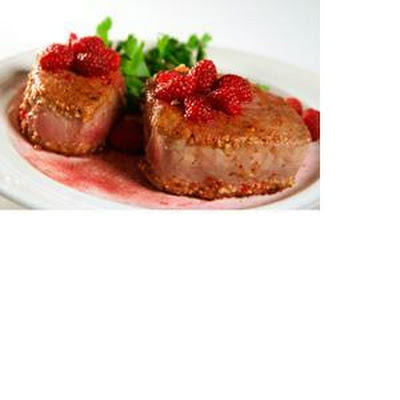 Almond Encrusted Tuna with a Raspberry Pinot Noir Glaze
