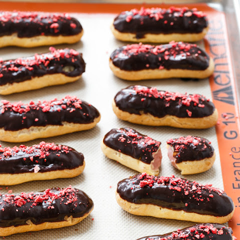 Chocolate Covered Strawberry Eclairs
