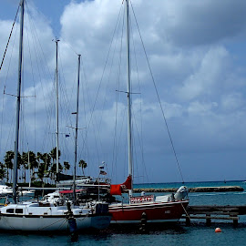 Peaceful Quay by Donald Henninger - Transportation Boats ( boating, sailboats, bay, aruba, oranjestad, boats, cloudy, seascape, spring, caribbean )