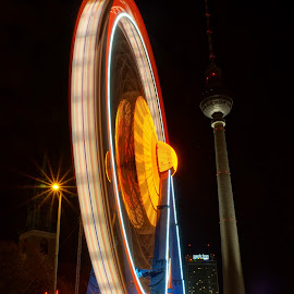 Alexanderplatz Amusement Park by Martin Vanek - City,  Street & Park  City Parks ( tv tower, wheel, christmas, berlin, alexanderplatz, nightscape )