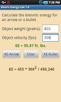 Screenshot of Kinetic Energy Calculator