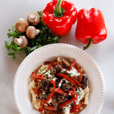 Mushroom Pepper Pasta with Feta Goat Cheese Sauce