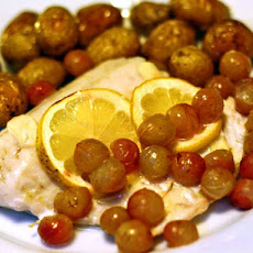 Walleye With Roasted Grapes and Fingerling Potatoes