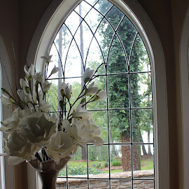 by Kimmarie Martinez - Buildings & Architecture Other Interior ( classy, vase, window, compound window, elegance, church style, flowers,  )